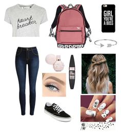 """""""Off to school🙄🤘🏼💯"""" by teabear-xoxo ❤ liked on Polyvore featuring Tee and Cake, Vans, Victoria's Secret, Bling Jewelry and Maybelline"""