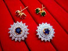Designer Studded Zircon Earrings for Women – Pink, Blue, Green – Buy Indian Fashion Jewellery Fashion Jewellery Online Shopping, Fashion Jewelry, Pink Blue, Blue Green, Indian Fashion, Women's Earrings, Brooch, Stuff To Buy, Design