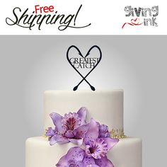 Rustic Wedding Fishing Cake Topper Greatest Catch by givingINK, $30.00