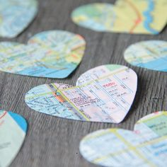 Now I know what to do with my Old Maps  These Heart Tags are neat.