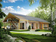 Projekt domu AC Eryk (z wiatą) CE - DOM - gotowy koszt budowy Family House Plans, Dream House Plans, Simple House Design, Modern House Design, New Home Designs, Home Design Plans, Raised Garden Bed Plans, Beautiful House Plans, Compact House