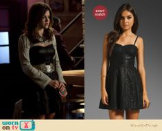 This is a questionable outfit Aria will wear this week on Pretty Little Liars.  At least the dress is amazing, and vegan!  It is on sale at a few places from $103. http://wornontv.net/9816/ #PLL
