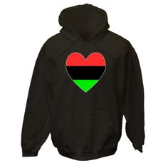 Design on casual clothing, tees, T-shirts, merchandise, apparel, and products shows a heart shaped Flag of the African Diaspora, or African-American Flag in the shape of a heart with a gray border.<br /><br /> Terrific for honoring and sharing your ethnic pride and love of your ancestry, heritage and culture during Black History Month or any special time. Great Kwanzaa gift, too. $75.99 ink.flagnation.com Looks great on this black hoodie. Design by @Auntie Shoe.