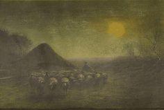 Anton Mauve - Herder en zijn kudde bij maanlicht