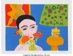 Prints:Contemporary, John Grillo (American, 1917-2014). Woman with Flowers, 1980.Serigraph in colors on wove paper. 22-3/8 x 30 inches (imag...