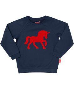 Tapete mooi donkerblauwe sweater met rode eenhoorn. tapete.nl.emilea.be
