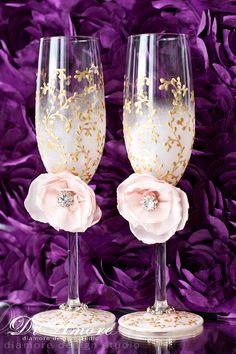 Blush pink gold Wedding Champagne glasses/ Handmade por DiAmoreDS