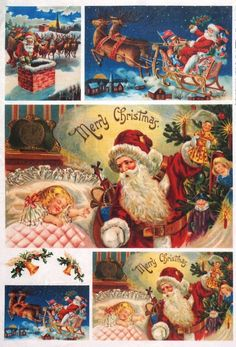 Rice paper / Decoupage paper, Scrapbook Sheet Old Pictures Merry Christmas