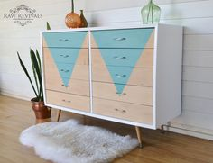 Vintage Retro Geometric Ten Drawer Chest of Drawers  Painted in gloss whit and geometric triangle added to the front.  www.rawrevivals.com.au