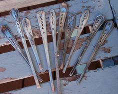 Set of 10 Hand Stamped Spoon Handles for Wedding or Shower Favors. $33.00, via Etsy.