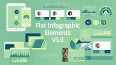 Find it here: http://videohive.net/item/flat-infographic-elements-v30/8498708  Contains 2 Device displays, 2 UI displays, User profile displays, 28 animated icons, video players, with lots of graphs and charts. Everything is easily customizable and the colors for the entire project can change with the click of a button. There are also 5 unique transitions!  Easy controls to get stats and effects that match what you want to use. Infinite colors options, all of your choice, just with the ...