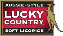 Lucky Country soft Licorice logo  (available in Strawberry, Black, Cherry, Apple and Pineapple) www.lucky-country.com