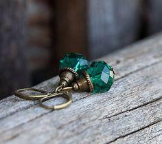 gabi111 / Smaragdové rondelky - brúsené sklo