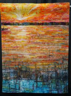 """Sunrise, Sunset by Melody Randol  """"Something magical occurs when water and sunlight converge."""" at Denver National Quiltfest 2014  #quilt #quilting #art"""