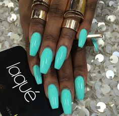Bright turquoise nails
