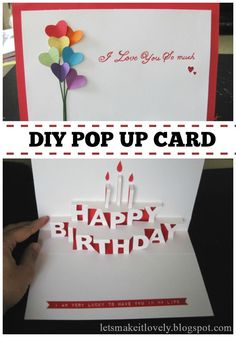 homemade pop-up birthday cards | found basic Happy Birthday pop up template here . I created a mirror ...