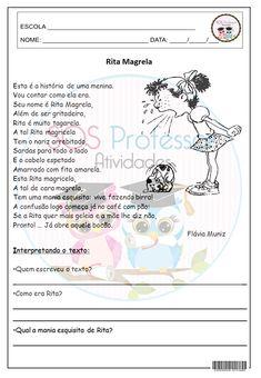 4º E 5º ANO, ADJETIVO, CONCORDÂNCIA NOMINAL, GÊNERO E NÚMERO DO SUBSTANTIVO, GRAMÁTICA,GRAU DO ADJETIVO, INTERPRETAÇÃO, LÍNGUA PORTUGUESA, PRODUÇÃO DE TEXTO, SUBSTANTIVOS, SUJEITO E PREDICADO Creative Clips, Tatoos, Crafts For Kids, Map, Words, Comprehension Activities, Lesson Plans For Elementary, Teaching Reading, Tens And Ones