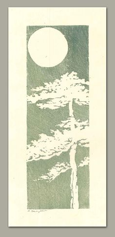 This linocut tree is printed on thin, handmade Japanese paper with Akua Kolor water based inks. The ink was thinned out and brushed on for each of the hand pulled impressions. Due to the nature of hand painting the linoleum block before printing, this is a one of a kind, original piece of artwork. The image was inspired by a small illustration in a book of Chinese proverbs from the early 1960s. The image shown is a scan and has something running through the center... I will add photos of…