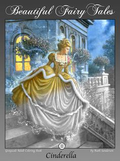 CINDERELLA 24 Grayscale Coloring Book Images for Instant