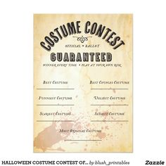 HALLOWEEN COSTUME CONTEST OFFICIAL BALLOT 5X7 PAPER INVITATION CARD