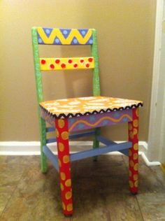Funky hand painted chair.