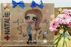 Large Hand Painted Bespoke Personalised Jute Tote Bags Nurse Design 3 by MakeUniqueBags on Etsy