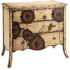 Poppy 3-Drawer Accent Chest ($400) ❤ liked on Polyvore featuring home, furniture, storage & shelves, dressers, cabinets, 3 drawer wood dresser, wood furniture, handpainted furniture, wooden furniture and three drawer dresser