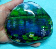 Hand+Painted+Garden+Pond+Rock+by+KarensFineCrafts+on+Etsy,+$28.00