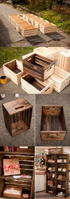 Apple crates display case... Walmart carries these crates for $10 ea. Cute and rustic storage for any room.