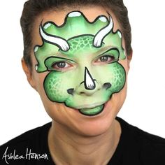 Ashley Hanson triceratop Dinosaur Face Painting, Dragon Face Painting, Face Painting For Boys, Face Painting Designs, Body Painting, Maquillage Halloween, Halloween Makeup, Halloween Face, Animal Face Paintings