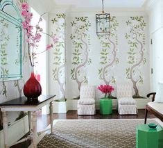 Timoty Whealon entryway decorate with Chinoiserie wallpaper via Paint and Pattern