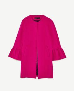 Fuchsia ruffle sleeves summer coat. SS Trends 2017