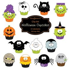 Collection of 13 Halloween cupcakes clipart. All files are high quality dpi) PNG format with transparent background. Images are 6 high. Moldes Halloween, Art Halloween, Halloween Templates, Halloween Clipart, Halloween Cards, Holidays Halloween, Halloween Themes, Happy Halloween, Halloween Decorations