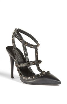 IN LOVE!! ♥ #valentino #heels Valentino 'Noir Rockstud' T-Strap Pump available at #Nordstrom