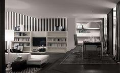 Sala de estar decorada com listras em preto e branco