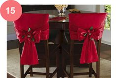 Red Holiday Bow Dining Chair Back Covers Christmas Holidays, All Things Christmas, Christmas Crafts, Christmas Ornaments, Christmas Poinsettia, Chair Back Covers, Chair Backs, Christmas Tablescapes, Christmas Table Decorations