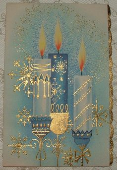 UNUSED - Gold Accents - Blue Christmas Candles - 1950's Vintage Christmas Card   eBay Christmas Scenes, Noel Christmas, Retro Christmas, Christmas Greetings, Christmas Crafts, Christmas Ornaments, Elegant Christmas, Christmas Movies, Christmas Music