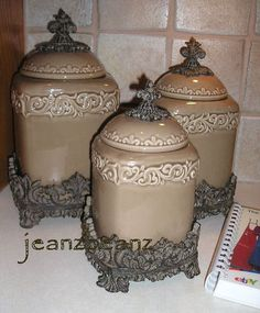 Drake Design Large Rounded Canister Set Coffee Cream Onyx Red Taupe