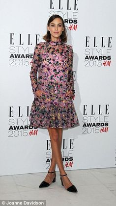 Alexa Chung wore an Erdem dress from the Fall/Winter 2015-16 collection http://www.vogue.co.uk/fashion/autumn-winter-2015/ready-to-wear/erdem/full-length-photos/gallery/1352424