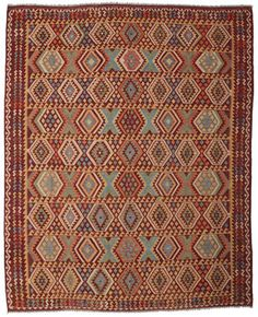 Afghan Old kilims are handwoven by Turkmenians from northern Afghanistan. The carpet is made in a traditional kilim technique using a natural colour scheme with geometric symbols and octagons.
