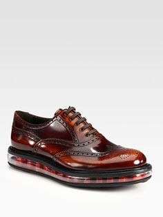 Prada Spazzolato Wingtip Lace-Up