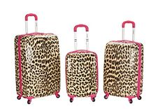 Rockland Luggage 3 Piece Leopard Upright Set Pink Leopard Medium * Find out more about the great product at the image link.