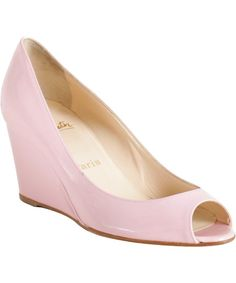 Christian Louboutin light pink patent leather 'Materna' peep toe wedges