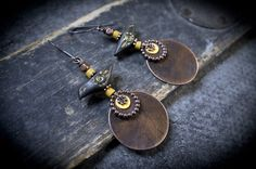 tribal earrings • dangle earrings • boho • black clay bird • oxidized copper • yellow beads • ceramic • artisan • rustic earrings • nature