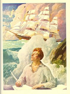 "Sea Fever - Illustration by N.C. Wyeth. From ""The World of Music: Discovery,"" Ginn and Company, 1937."