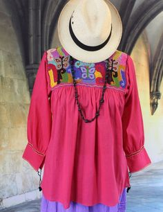 Pink Hand Embroidered Blouse with Butterflies Chiapas Mexico Hippie Boho Peasant #Handmade #blouse