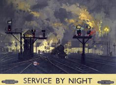 David Shepherd (artwork) (1931- ), British / 'Service by Night', British Railways poster promoting night railway services, 1955 / National Railway Museum, UK