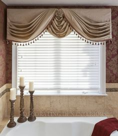 Blinds And Drapes Side Panel Combinations - Trendy Blinds. Window Treatments By Design Style From 3 Day Blinds. Home and Family Bathroom Window Curtains, Bathroom Window Treatments, Bathroom Windows, Custom Window Treatments, Window Drapes, Curtains And Draperies, Elegant Curtains, Valances, Cornices