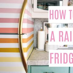 how to paint a rainbow fridge- easy and affordable. How to paint a boring white fridge and ideas for how to paint it fun colors- pink, orange, yellow, green, and blue Peel N Stick Backsplash, Peel And Stick Tile, Stick On Tiles, Backsplash Tile, Tape Painting, Diy Painting, Painted Fridge, Pink And Blue Rug, Gold Spray Paint