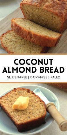 Coconut Bread Recipe, Coconut Flour Cakes, Coconut Flour Bread, Coconut Flour Recipes, Almond Recipes, Yeast Free Breads, Grain Free Bread, Paleo Yeast Bread, Whole Grain Gluten Free Bread Recipe